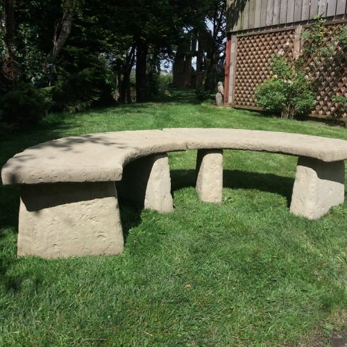 Large Rustic Semi-Circle Seat / Pair of Benches